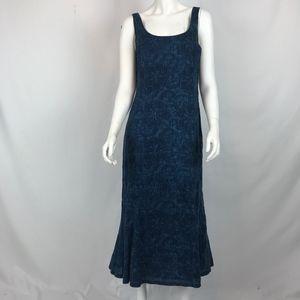 Lauren Ralph Lauren Blue Fit and Flare Midi Dress